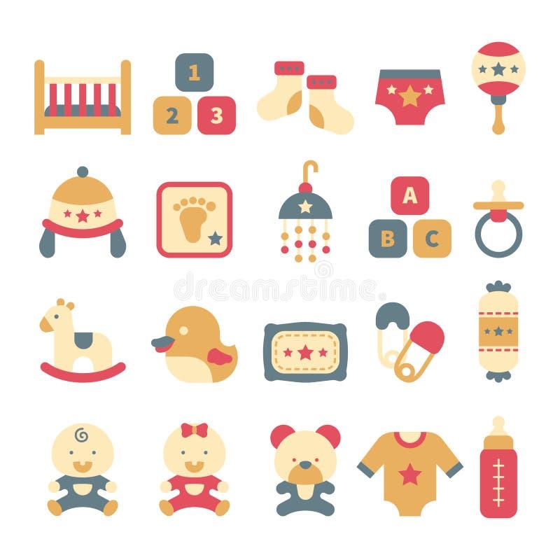 Een reeks leuke babypictogrammen in vlakke stijl stock illustratie