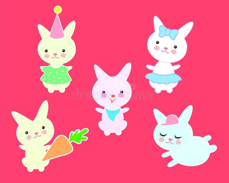 Een reeks leuke konijnen in verschillende kostuums stock illustratie