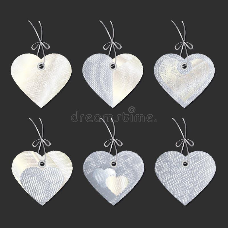 Een reeks markeringen in de vorm van harten borduurwerk Vector stock illustratie