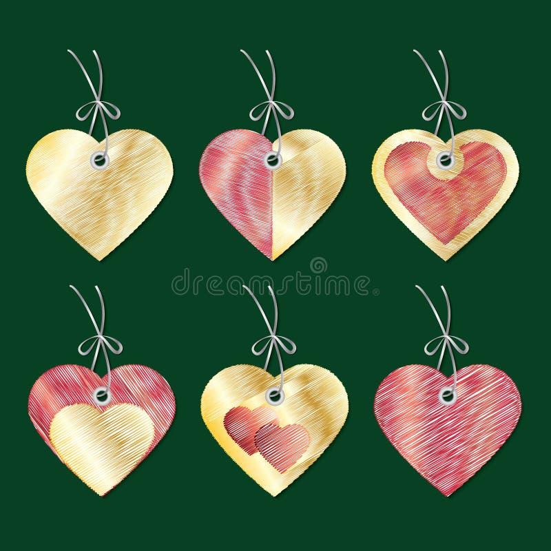 Een reeks markeringen in de vorm van harten borduurwerk Vector royalty-vrije illustratie
