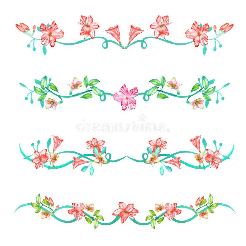 Een reeks met de kadergrenzen, bloemen decoratieve ornamenten met de waterverf bloeit, gaat en vertakt zich voor een huwelijk weg stock illustratie