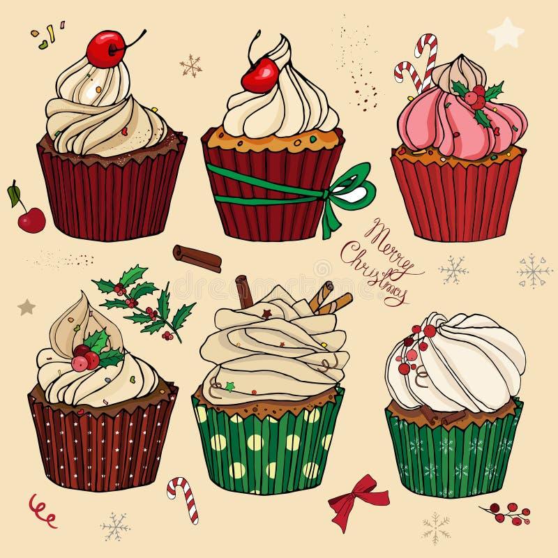 Een reeks met Kerstmiscakes, snoepjes, broodjes, ornamenten Voor het menu prentbriefkaaren, gelukwensen royalty-vrije stock afbeelding