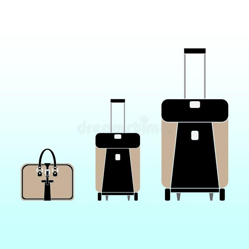 Een reeks moderne handtas en twee koffers voor bagage op wielen op een lichtblauwe achtergrond Vector vlak ontwerp stock illustratie