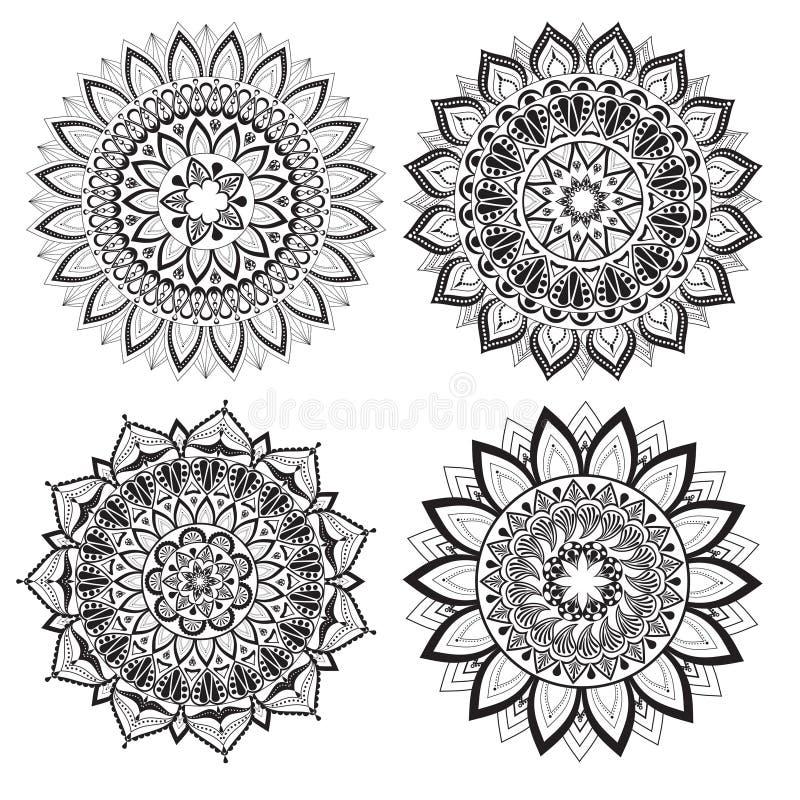 Een reeks mooie mandalas en kantcirkels royalty-vrije illustratie