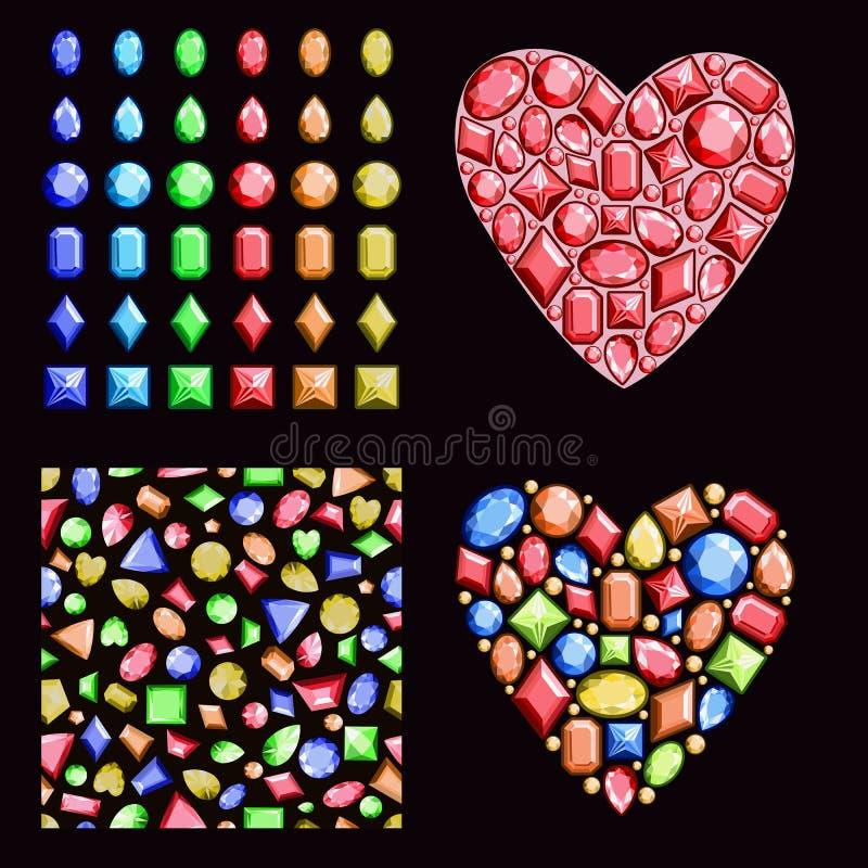 Een reeks multi-colored gemmen Bevat edelstenen van differe royalty-vrije illustratie