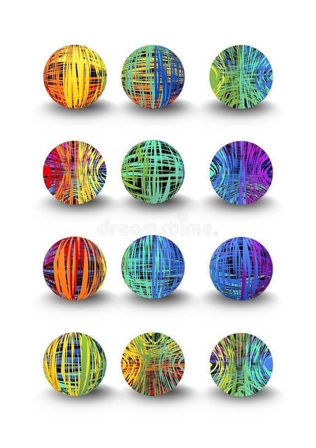 Een reeks multicolored ballen in krabbelontwerp en schaduw royalty-vrije illustratie