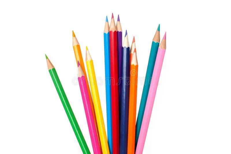 Een reeks multicolored potloden stock fotografie