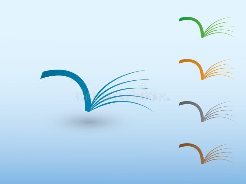 Een reeks open boeken van bibliotheek voor lezing aan het embleem van de aandeelkennis voor school en universiteit royalty-vrije illustratie