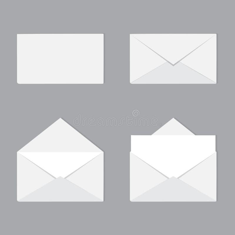 Een reeks open en gesloten geweeste enveloppen met brief Correspondentie, vector illustratie