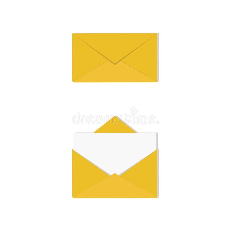 Een reeks open en gesloten geweeste enveloppen met brief Correspondentie, royalty-vrije illustratie
