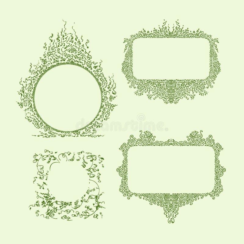 Een reeks ornamenten van verschillende vormen met ruimte voor tekst Het chaotische en dichte vullen vormt een abstract patroon stock illustratie