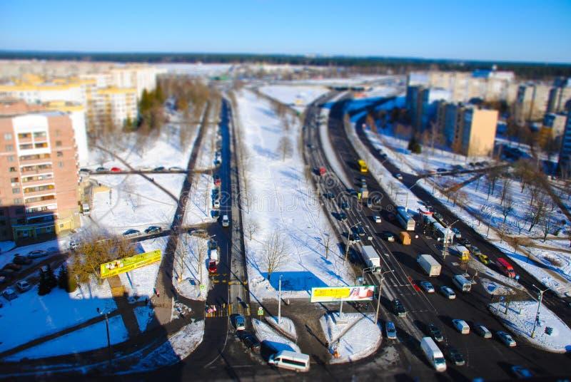 Een reeks panoramas van Minsk van de daken van gebouwen stock foto's