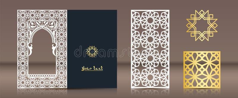 Een reeks patronen voor laserknipsel Prentbriefkaar, referentie, gouden medaillon in oosterse in traditionele stijl Elementen van vector illustratie