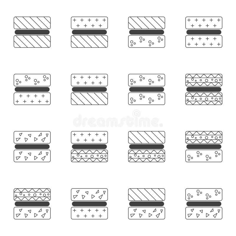 Een reeks pictogrammen die diverse opties voor gelijmde oppervlakten, hout, glas, steen en anderen tonen Vector op witte achtergr royalty-vrije illustratie