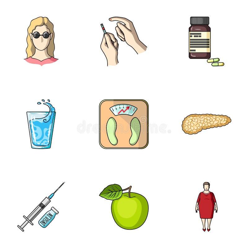 Een reeks pictogrammen over mellitus diabetes Symptomen en behandeling van diabetes Diabetespictogram in vastgestelde inzameling  stock illustratie