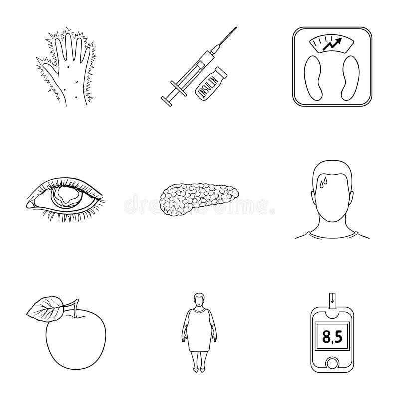Een reeks pictogrammen over mellitus diabetes Symptomen en behandeling van diabetes Diabetespictogram in vastgestelde inzameling  royalty-vrije illustratie
