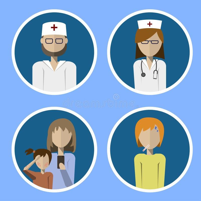 Een reeks pictogrammenarts, verpleegster en patiënten royalty-vrije illustratie