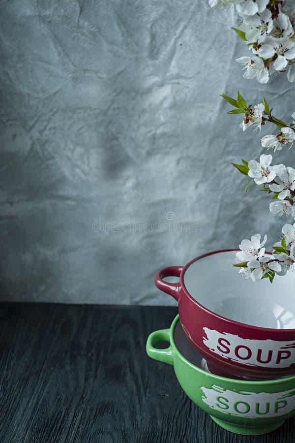 Een reeks platen voor soep met de inschrijving De tak is tot bloei komende abrikozen Plaats voor tekst Donkere houten achtergrond stock afbeelding