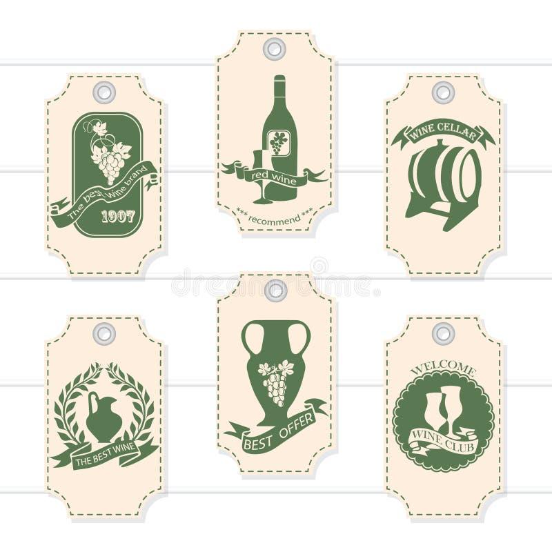 Een reeks prijskaartjes, markeringen voor de decoratie van wijn Vector royalty-vrije illustratie