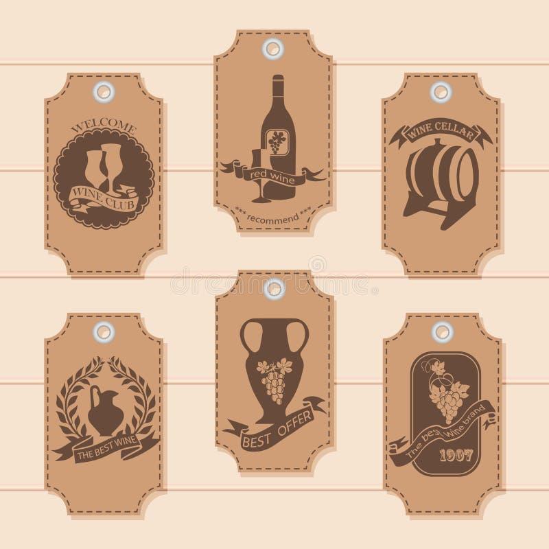 Een reeks prijskaartjes, markeringen voor de decoratie van wijn Vector vector illustratie
