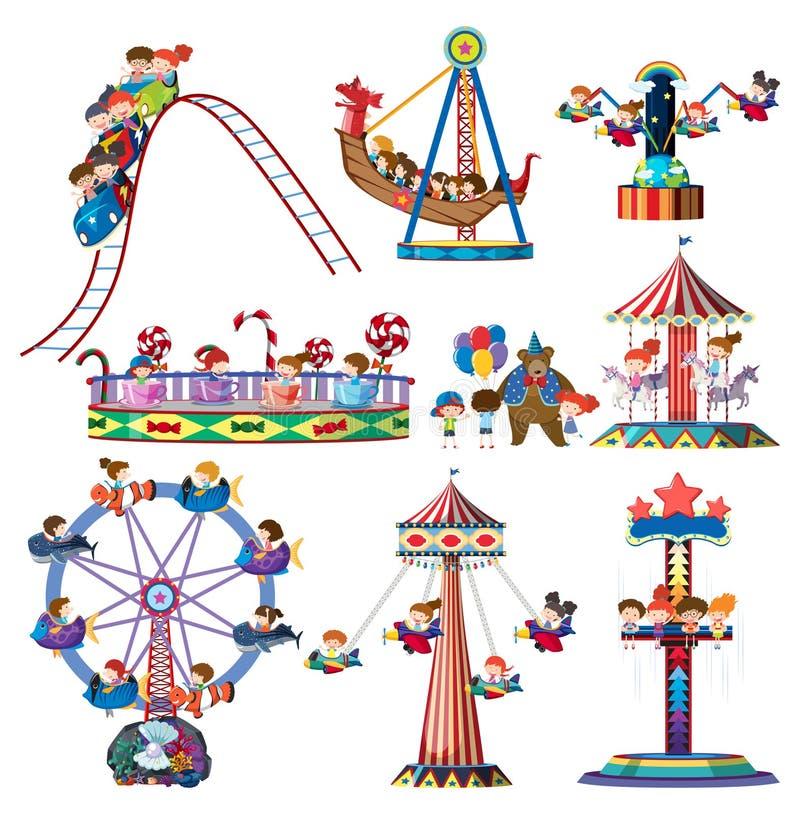 Een reeks ritten van het themapark vector illustratie
