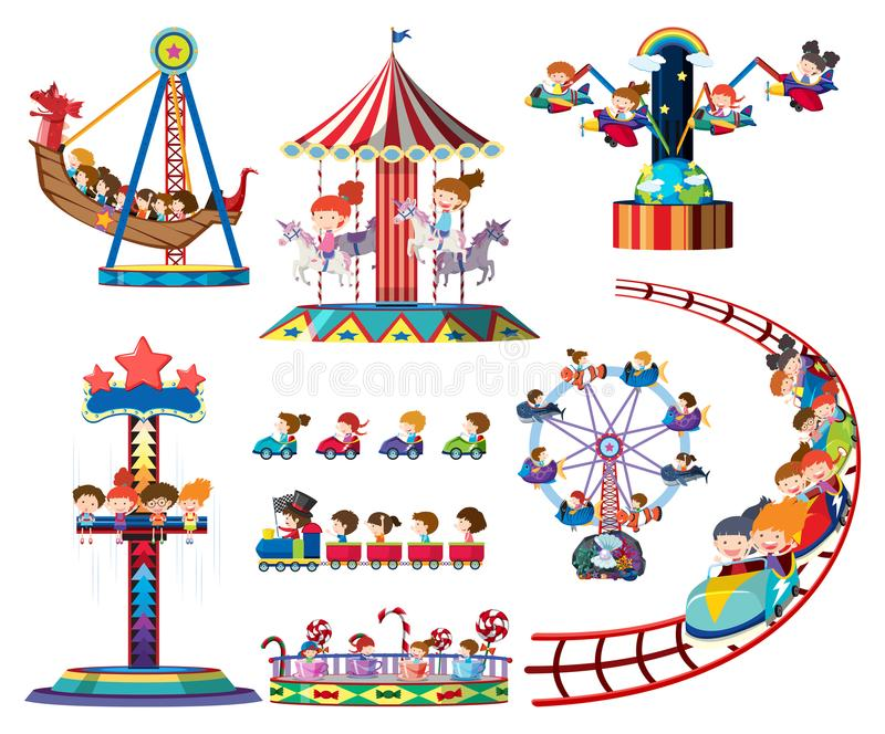 Een reeks ritten van het themapark royalty-vrije illustratie