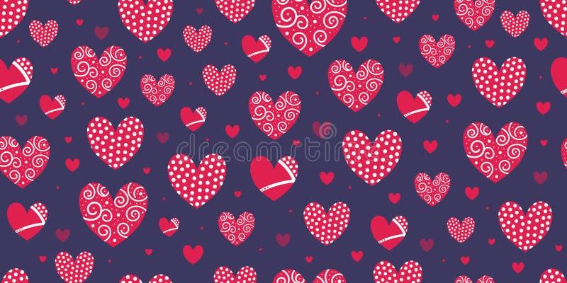 Een reeks rode harten met geometrische binnen vormen Naadloos patroon voor druk stock illustratie
