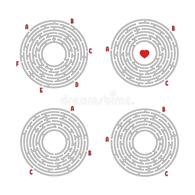 Een reeks ronde labyrinten Spel voor jonge geitjes Raadsel voor kinderen Labyrintraadsel Vlakke vectordieillustratie op wit wordt vector illustratie