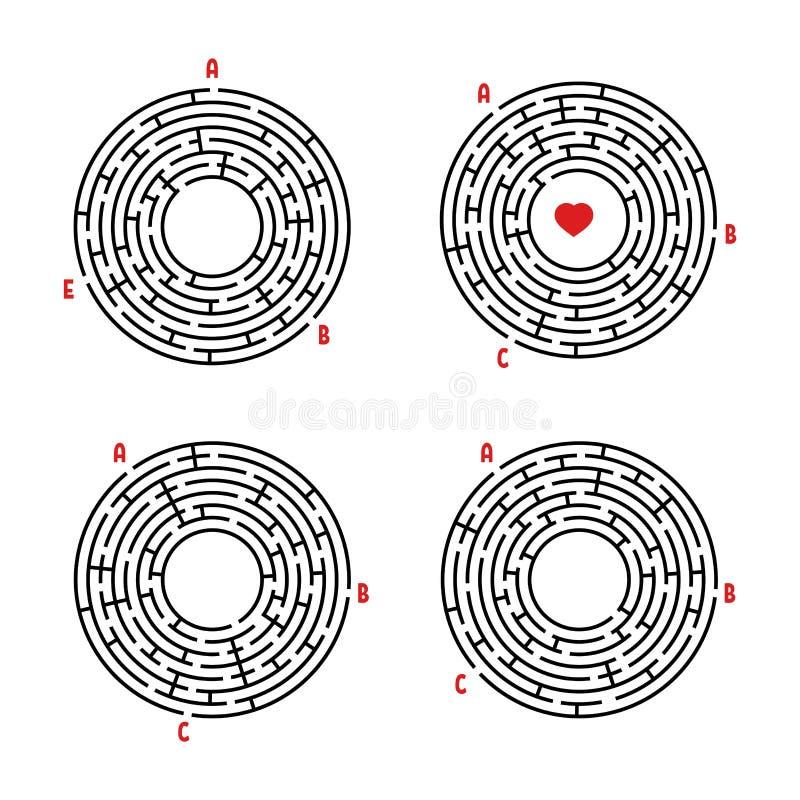 Een reeks ronde labyrinten Spel voor jonge geitjes Raadsel voor kinderen Labyrintraadsel Vlakke vectordieillustratie op witte bac vector illustratie