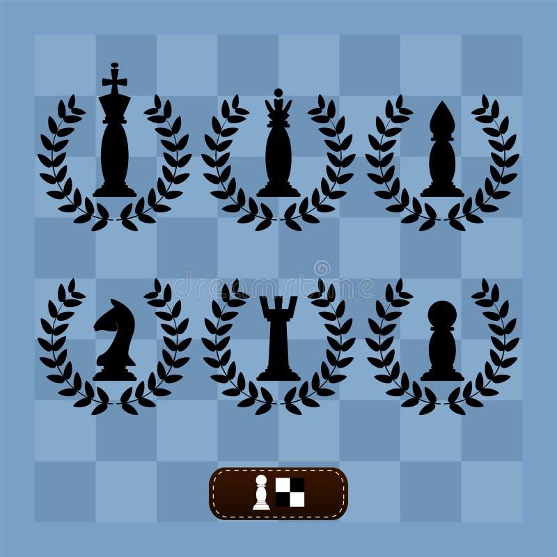 Een reeks schaakstukken op een schaakraad stock illustratie