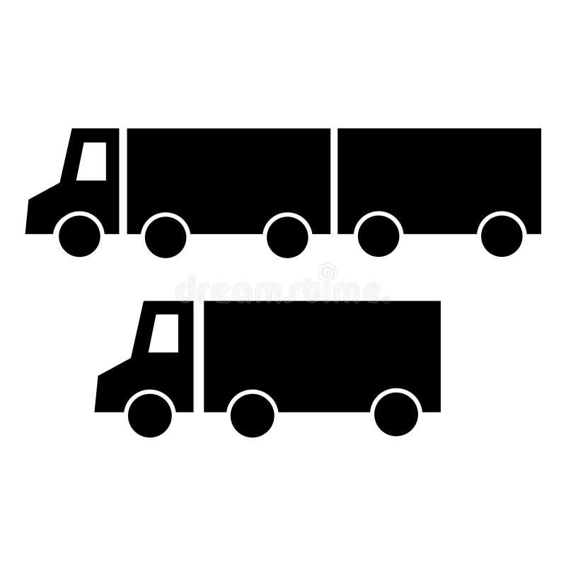 Een reeks silhouetten van twee zwarte vrachtwagens, een vrachtwagen, een aanhangwagentractor De vectorstijl van het pictogram vla royalty-vrije illustratie