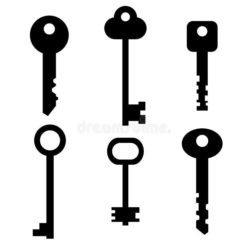 Een reeks sleutels Silhouet stock illustratie