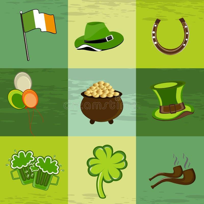 Een reeks St. Patrick elementen van de Dag. royalty-vrije illustratie