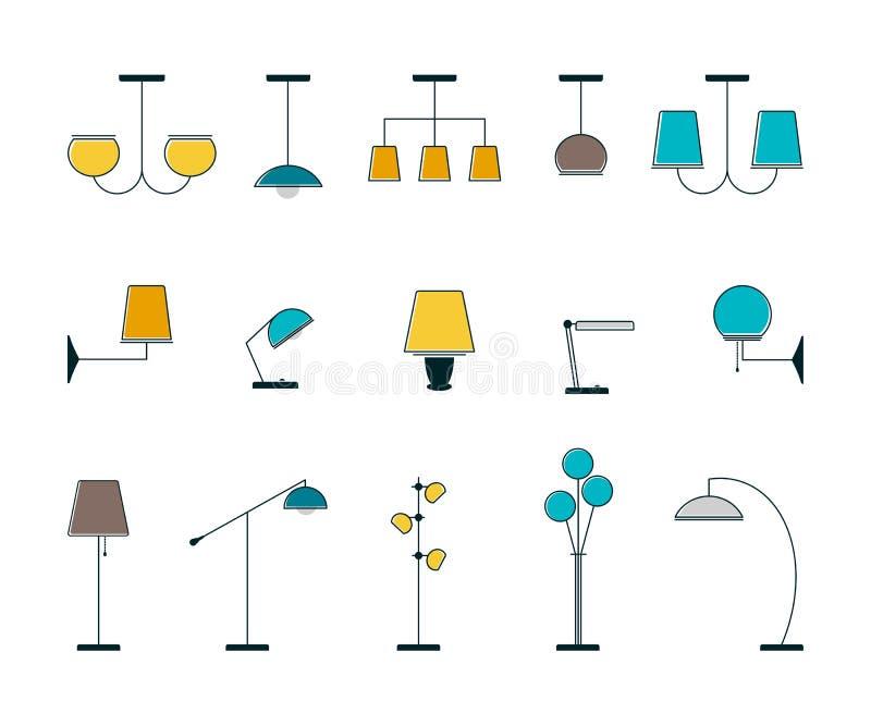 Een reeks staande lampen, kroonluchters, schemerlampen stock illustratie