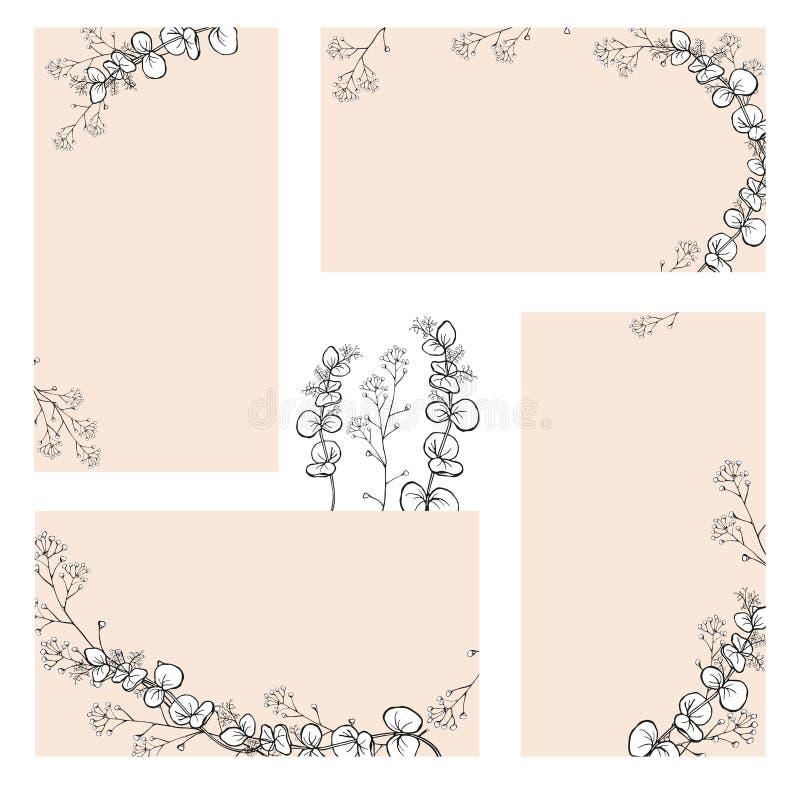 Een reeks stickers, adreskaartjes met handtekeningen van zwart-witte eucalyptus vertakt zich met bladeren royalty-vrije illustratie
