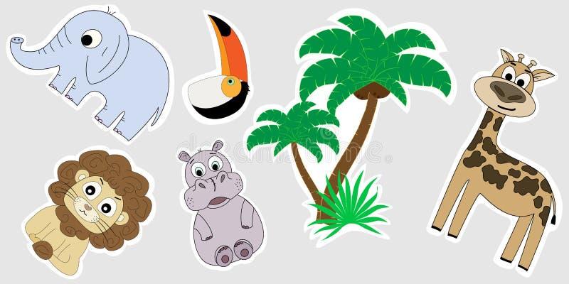 Een reeks stickers van Afrika De stickers voor kinderen zijn een leeuw, een nijlpaard, een palm, een olifant, een giraf, een toek stock illustratie