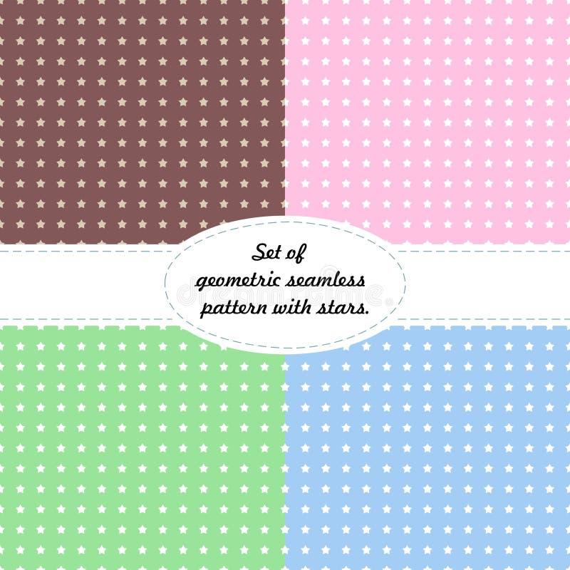 Een reeks texturen met sterren op kleurrijk retro naadloos vectorpatroon als achtergrond voor verpakking, stof, document, achterg vector illustratie