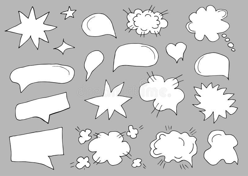 Een reeks toespraakbellen Reeks van leeg malplaatje in pop-artstijl op grijze achtergrond Vector illustratie royalty-vrije illustratie