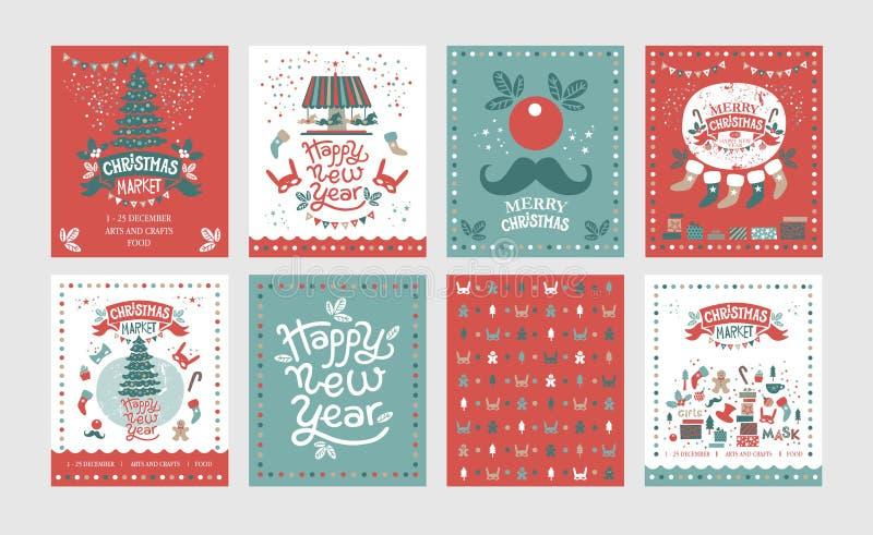 Een reeks van affiches of prentbriefkaarenkerstmismarkt, Gelukkig Nieuw jaar royalty-vrije illustratie