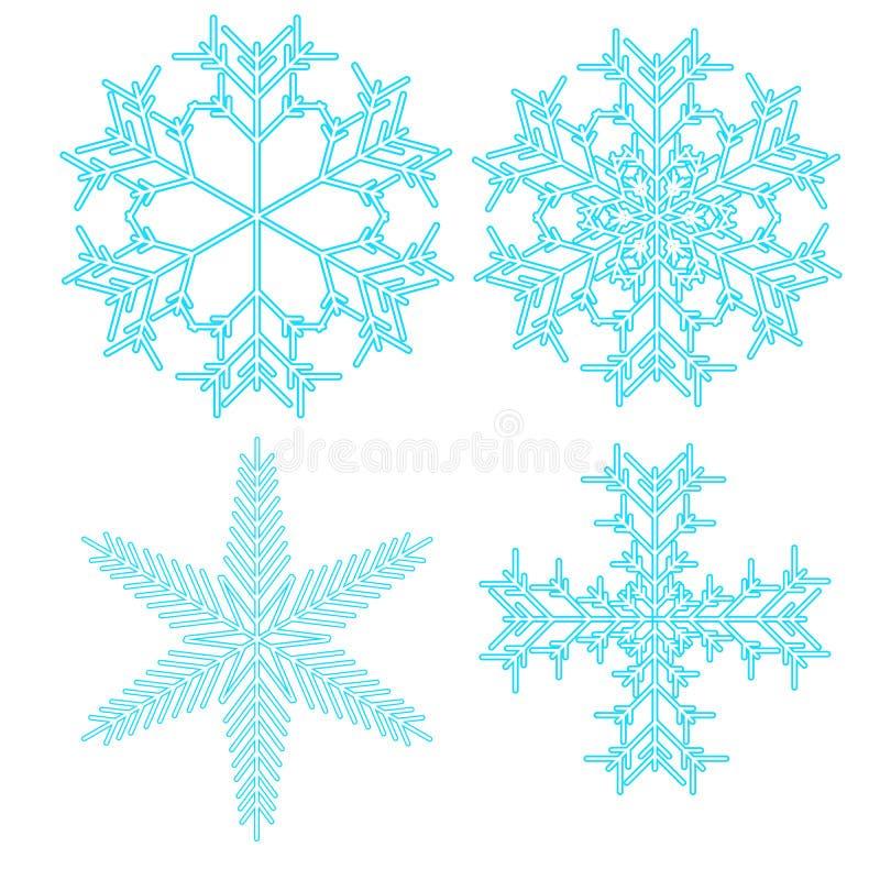 Een reeks van blauwe vier, mooi, helder, Kerstmis, Nieuwjaar, royalty-vrije illustratie