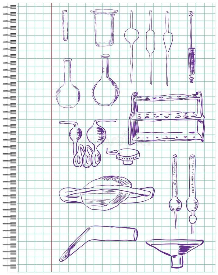 Een reeks van chemische apparatuur royalty-vrije illustratie