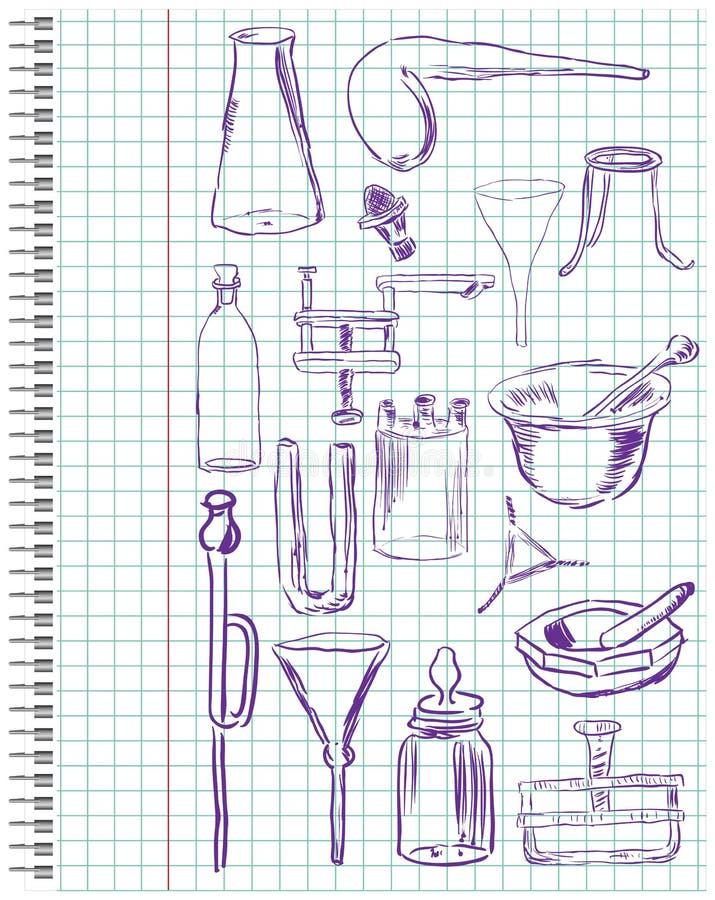 Een reeks van chemische apparatuur stock illustratie