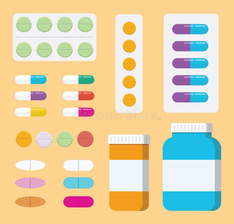 Een reeks van de geneeskunde van inzamelingspillen of medische gezondheidszorg met fles en tablet royalty-vrije illustratie
