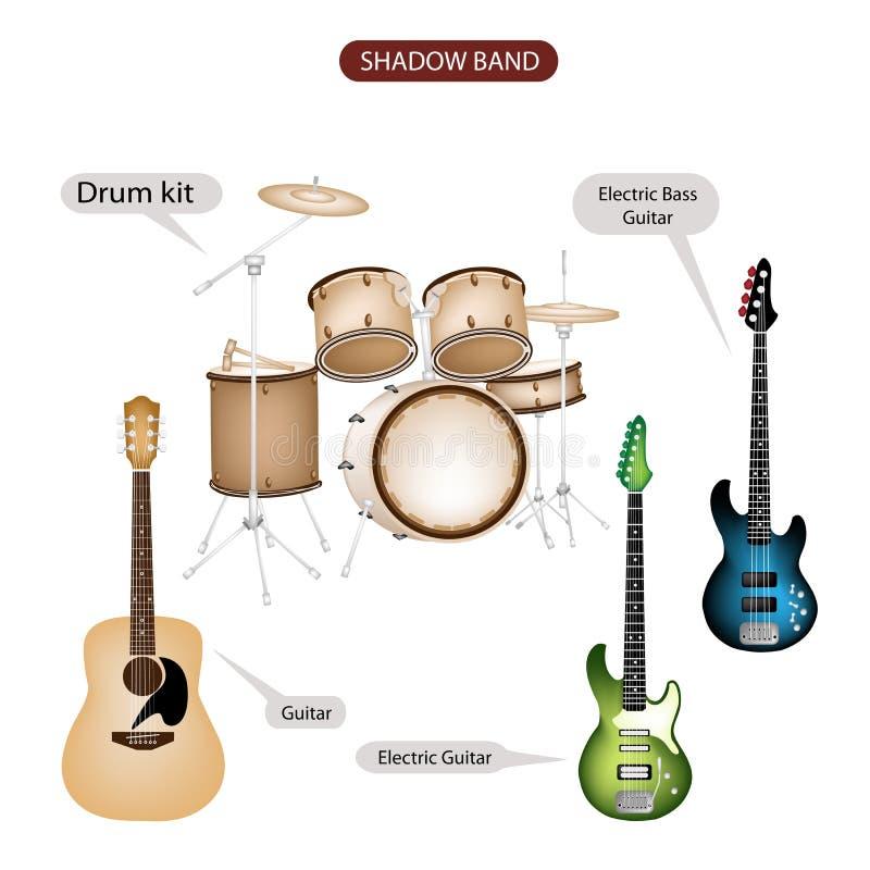 Een Reeks van de Muziekmateriaal van de Schaduwband vector illustratie