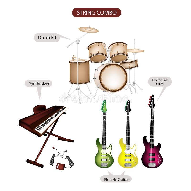 Een reeks van de Muziekmateriaal van Koordcombo stock illustratie