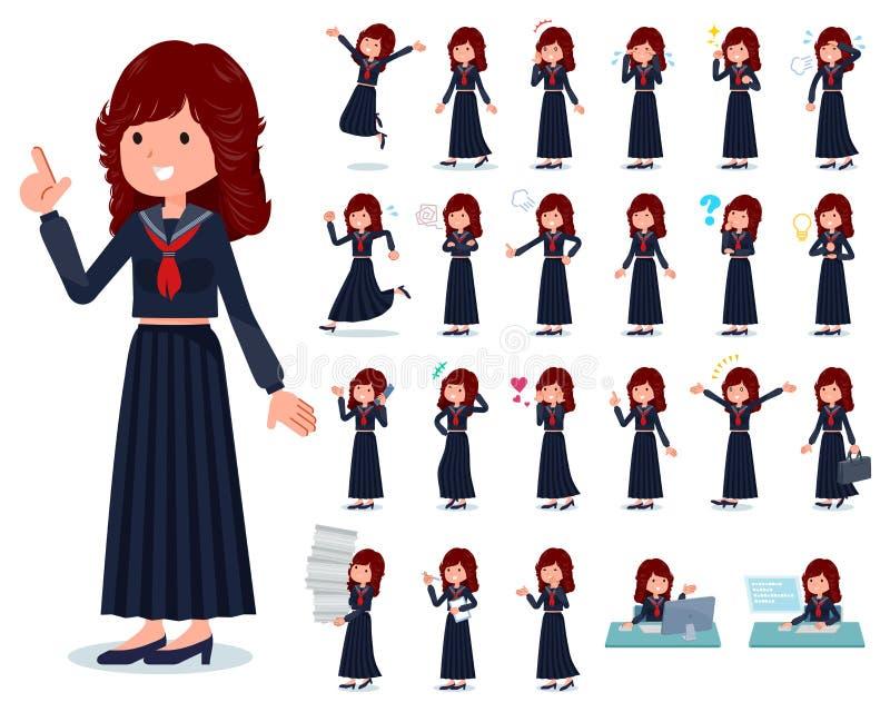 Een reeks van de schoolmeisje van Japan met wie diverse emoties uitdrukken vector illustratie