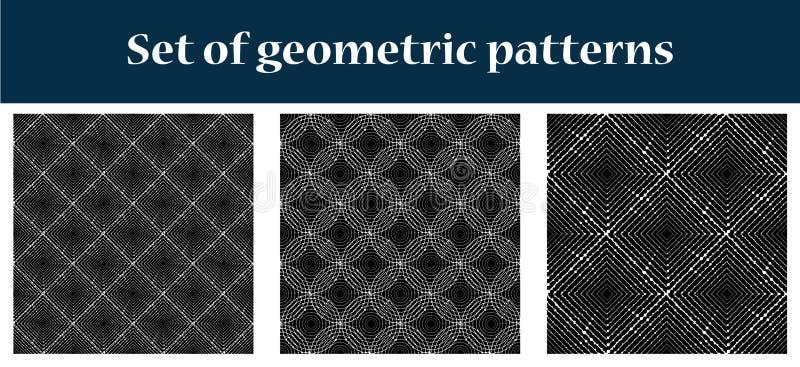 Een reeks van drie abstracte naadloze patronen stock illustratie