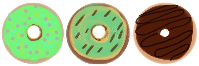 Een reeks van drie donuts met groen en chocoladesuikerglazuur Roosterillustratie voor ontwerp royalty-vrije illustratie