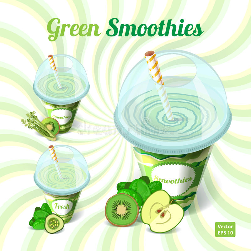 Een reeks van drie groene smoothies in plastic kop met vector illustratie