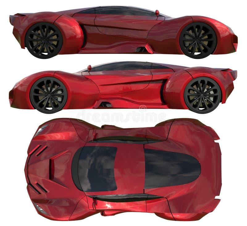 Een reeks van drie soorten het rennen van conceptenauto in rood Zijaanzicht en hoogste mening 3D Illustratie vector illustratie